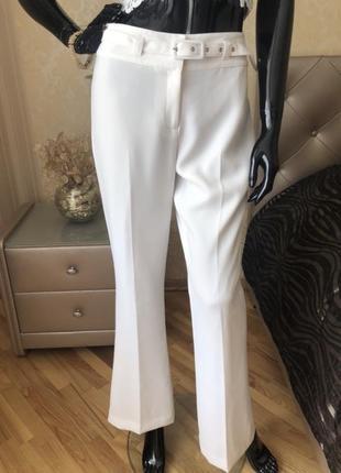 Брюки/штаны next, белые, с поясом, клешь, размер с-хс