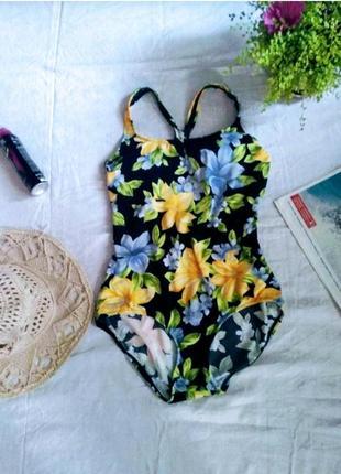 Суперовый сдельный купальник яркий цветочный принт бренда speedo uk 14 eur 42