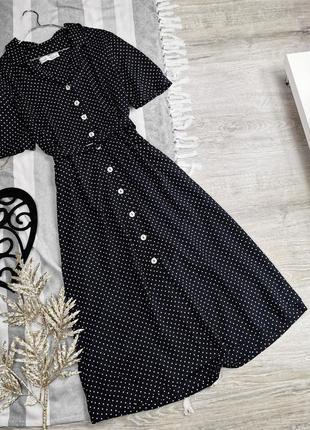 Винтажное платье миди в горошек в115432 marks&spencer