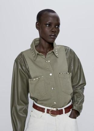 Рубашка жакет куртка хаки с заклепками эко кожа zara оригинал