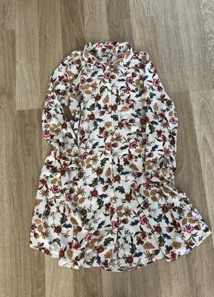 Платье белое рубашка хлопок stradivarius в цветочек
