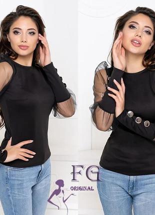 Невероятно крутая блуза с прозрачными рукавами и пуговицами