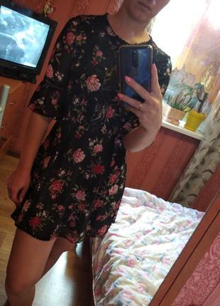 Мини платье цветами