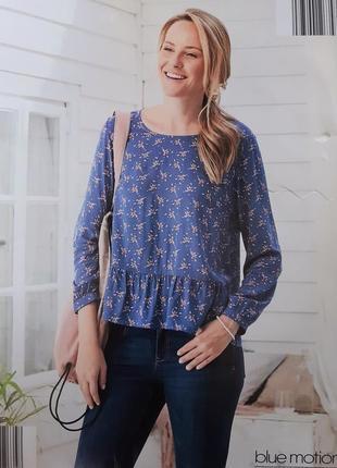 Стильная блуза, кофта в цветы s 36-38 euro, blue motion, германия