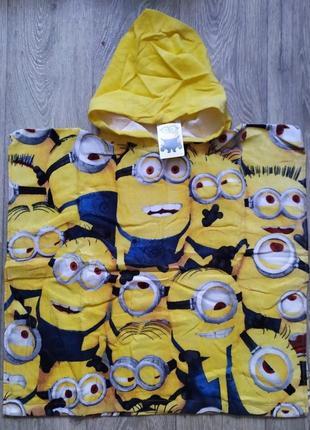 Пляжное детское полотенце пончо с капюшоном для мальчика, девочки disney minion