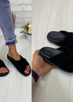 Стильные женские шлёпки тапочки чёрные натуральная замша