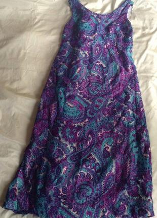Пестрое платье длинное с люрексом нарядное