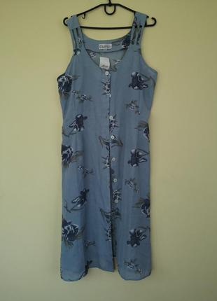 Легкое шифоновое платье сарафан в цветочный принт