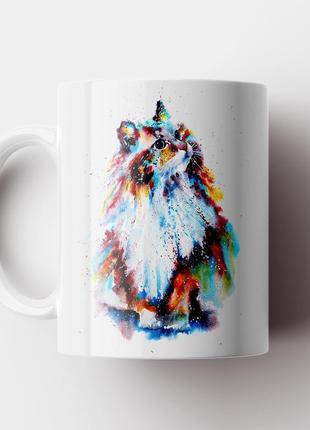 Кружка с принтом кот арт. cat art