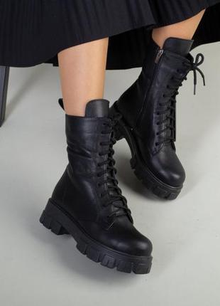 Кожаные черные женские ботинки-берцы на шнуровке осень-зима