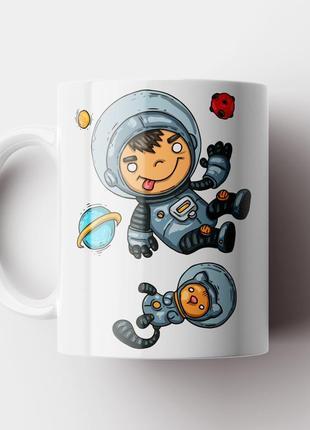 Кружка с принтом астронавт с котом
