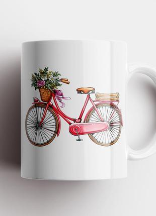 Кружка с принтом велосипед арт