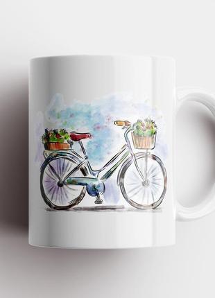 Кружка с принтом велосипед арт 2