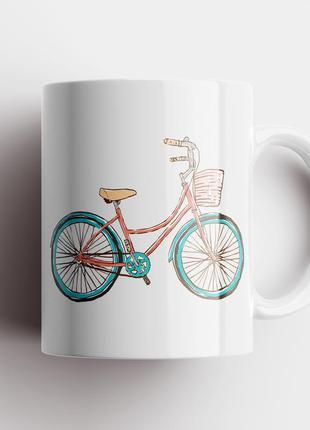 Кружка с принтом велосипед арт 3