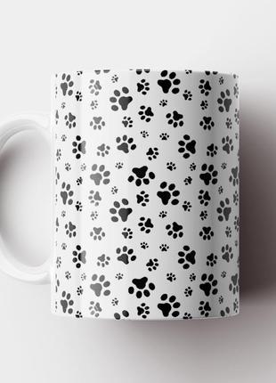 Кружка с принтом следы собак