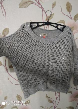 Серая легкая кофта свитер вязка кольчуга с пайетками