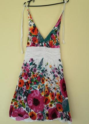 Хлопковое платье сарафан в цветочный принт