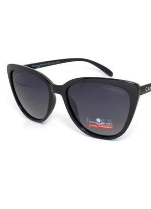 Солнцезащитные очки женские бабочка поляризационные в черной оправе