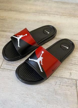 Шлепанцы jordan slide sandal logo red/black шлепки тапки сланцы джордан черные красные