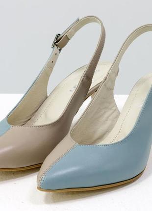 Эксклюзивные кожаные туфли с открытой пяткой на шпильке