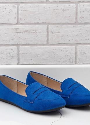 Сині лофери балетки з еко-замшу 3c-20