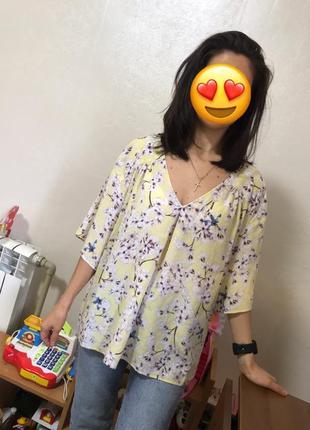 Женственная блуза блузка яркий принт большой размер h&m