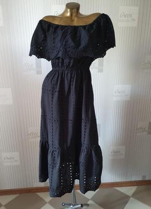Длинное черное платье сарафан в пол