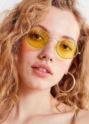 Солнцезащитные очки желтые стеклянные овальные в стиле ray ban сонцезахисні окуляри