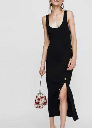 Шикарное платье с разрезом zara💞