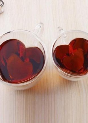 Подарок для любимых чашки с двойным дном сердца