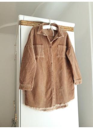 10-12 р вельветовая длинная рубашка необработаный край оверсайз с накладными карманами!