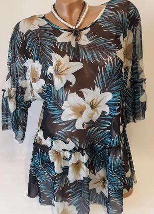 Блуза-сетка с воланами и баской