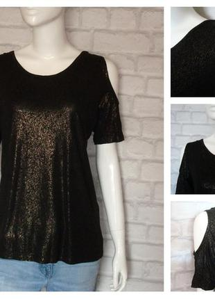 Блуза с бронзовым напылением и открытыми плечами от f&f
