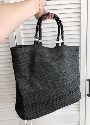 Чёрная плетёная пляжная сумка с ручками h&m