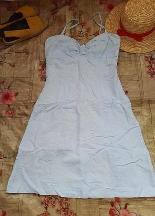 Льняной стильный сарафан платье мини лен льон