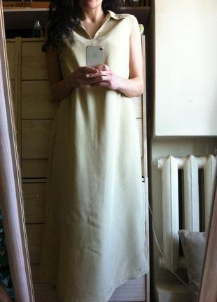 Миди платье рубашка модал+лён оверсайз 10-12-14-16