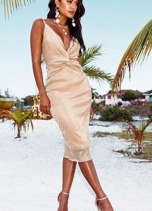 Шикарное вечернее нарядное платье миди люрекс ниже колена с интересным верхом