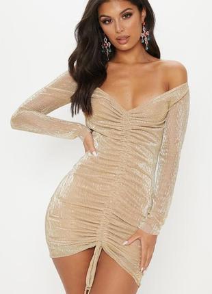 Короткое вечернее платье люрекс с завязкой