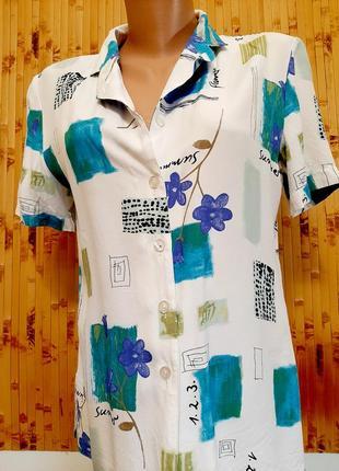 Блузка рубашка вискоза цветы canda c&a