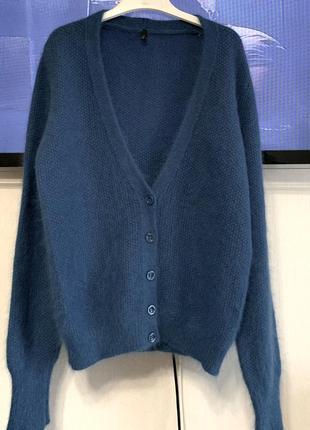 Benetton темно-бирюзовый кардиган шерсть+ангора м-л