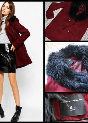 Крутое пальто цвета марсала с мехом весна