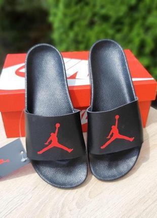 Мужские летние шлёпанцы  jordan черные с красным • тапочки •тапки •шлёпки ❤️