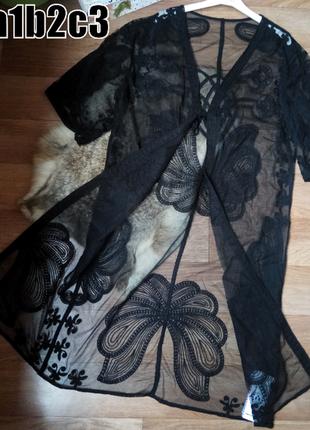 Женские пляжные туники халаты с вышивкой на сетке -отличное качество
