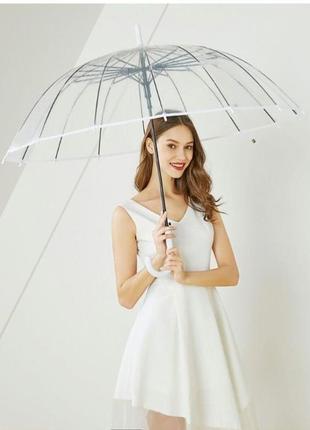 Топ качество! ❤14 спиц прозрачный женский зонт трость плотный поливинил