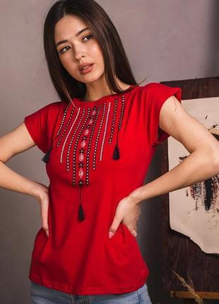 Красная футболка с красивой стильной вышивкой качество!!!