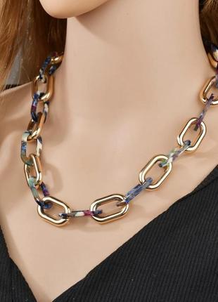 Ожерелье ,колье цепь  синяя/ золотистая