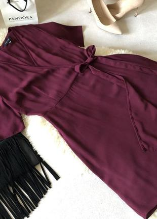 Нереально красивое легкое платье миди на запах с поясом на завязки, р.10/38-м ... 👠❤️💋