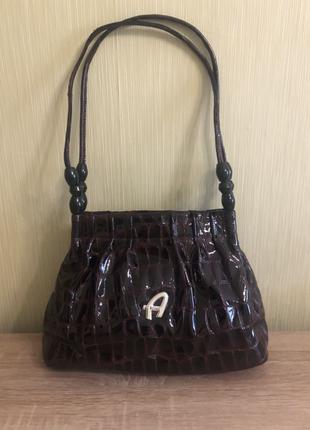 Фирменная итальянская лаковая сумка al pcino винного цвета/бордо, отличное состояние