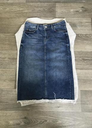 Zara m l юбка джинсовая спідниця