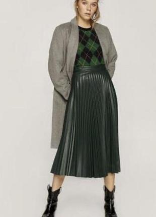Кожаная юбка плиссе, плиссированная stradivarius
